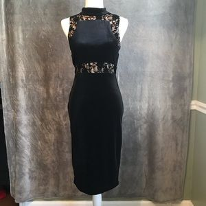 NWT Bisou Bisou Black Lace Stretch Velvet Dress 4
